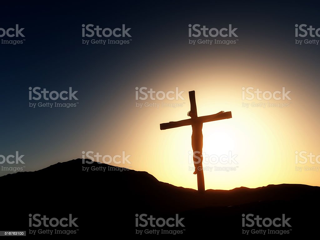 3d Good Friday Landscape With Jesus On The Cross Stock Photo Download Image Now