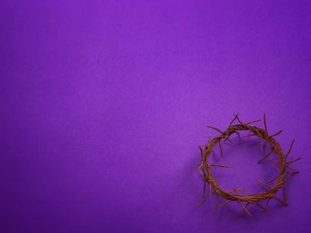Good Friday, Lent Season and Holy Week concept. A woven crown of thorns on purple background. lent stock pictures, royalty-free photos & images