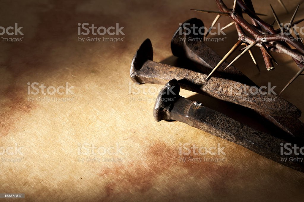 Good Friday Nails and Crown of Thorns Background royalty-free stock photo