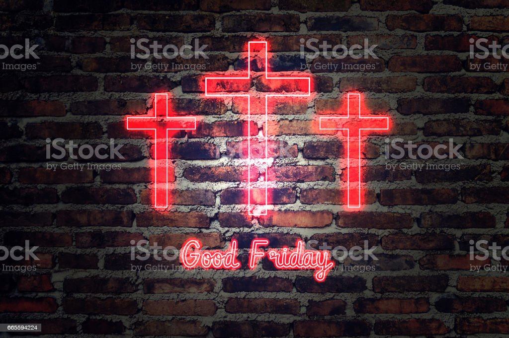 Good Friday. red neon Three crosses glowing stock photo