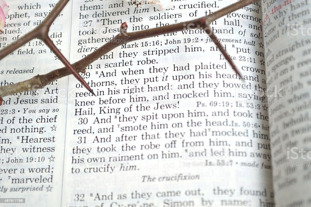 Good Friday scripture with thorns stock photo