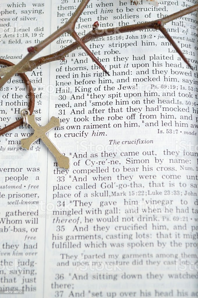 Good Friday with thorns and cross, vertical stock photo
