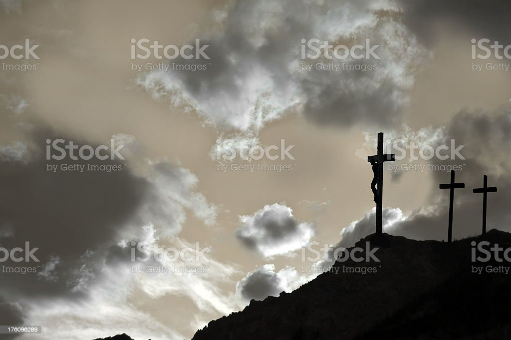 Good Friday with three crosses stock photo