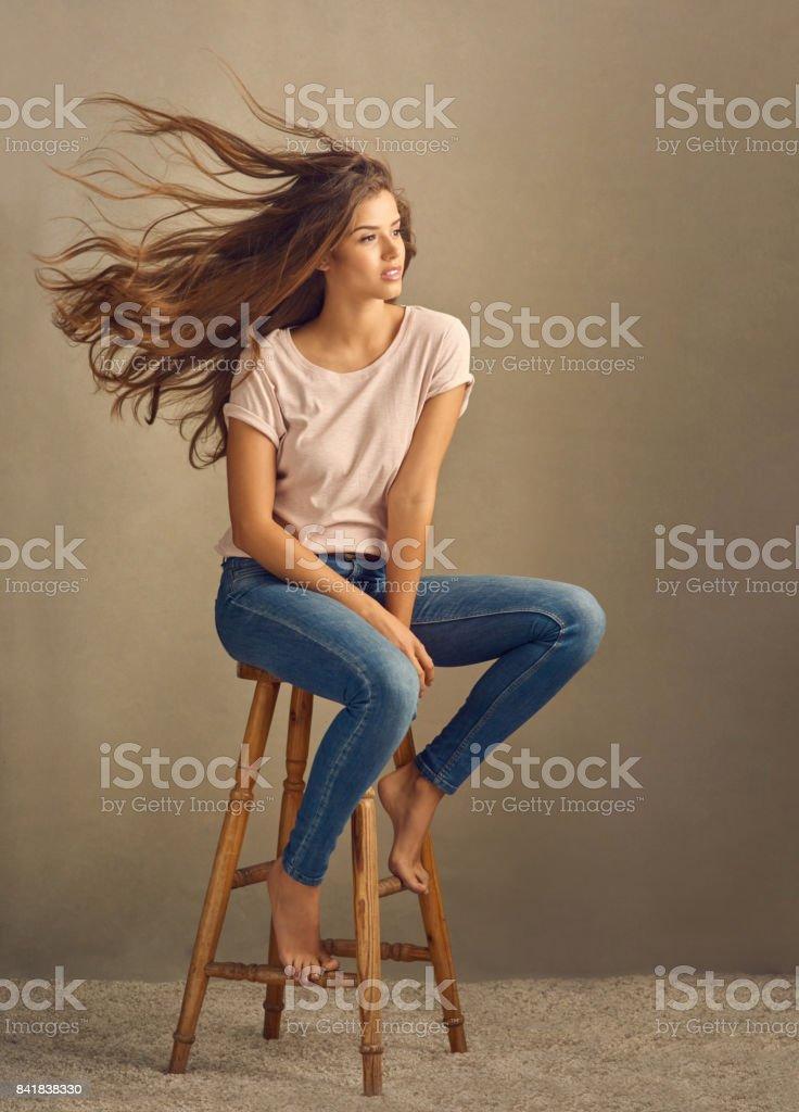 Good hair blows them away stock photo