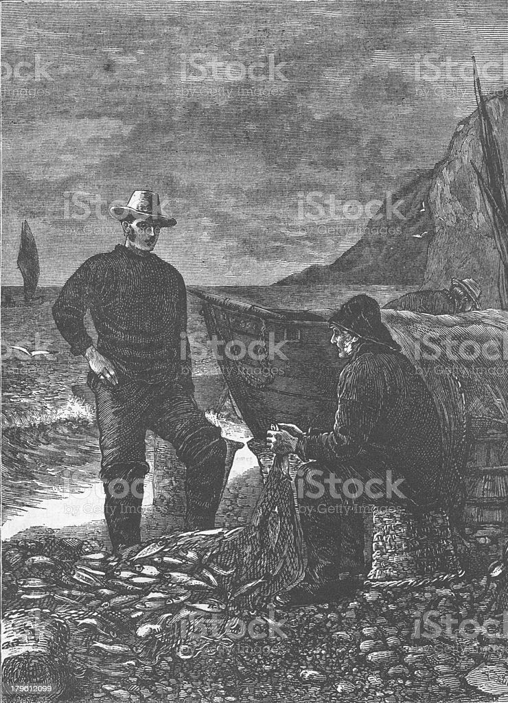 Good Haul 1879 Engraving Fishing royalty-free stock photo