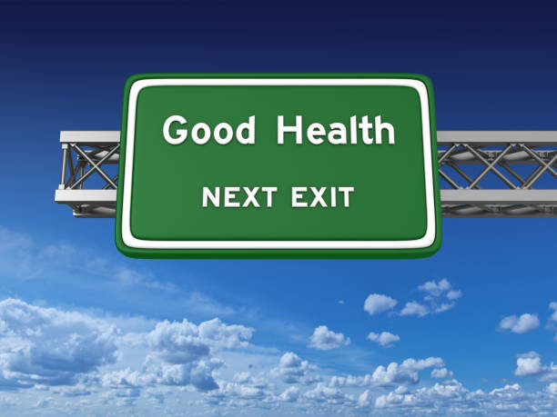 good health concept highway sign - single word stock photos and pictures