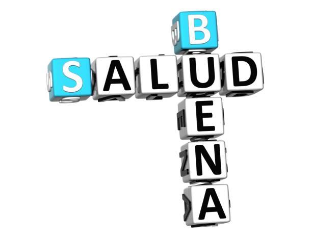 beyaz arka plan üzerinde 3d iyi sağlık (buena salud) bulmaca - salud stok fotoğraflar ve resimler