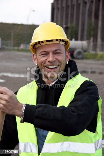 Smiling worker on a construction site in Dortmund.