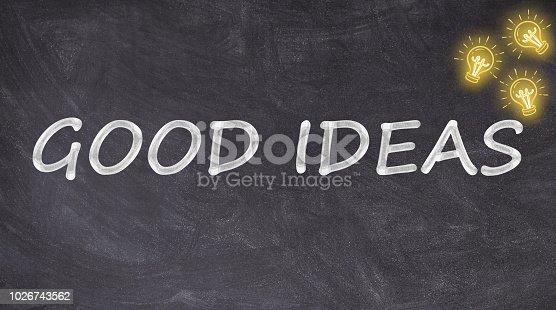 istock Good ideas on blackboard with light bulb 1026743562