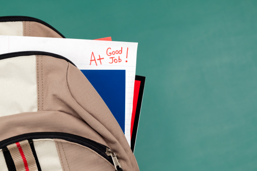 istock Good Job: A+ on Homework or Test Paper in Backpack 169960430