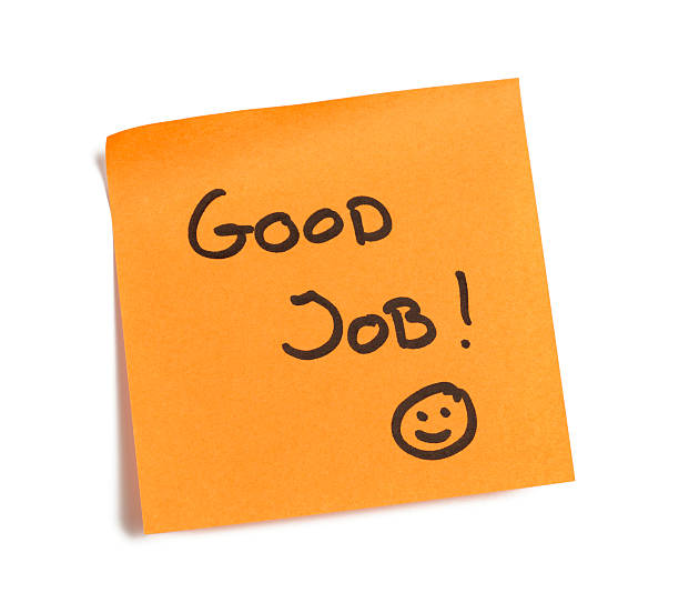 buena nota de trabajo - agradecimiento fotografías e imágenes de stock