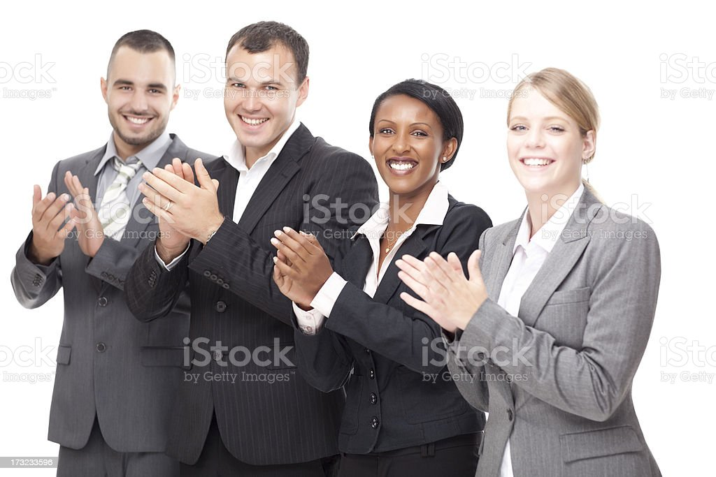 Good job. Successful business people applauding. royalty-free stock photo