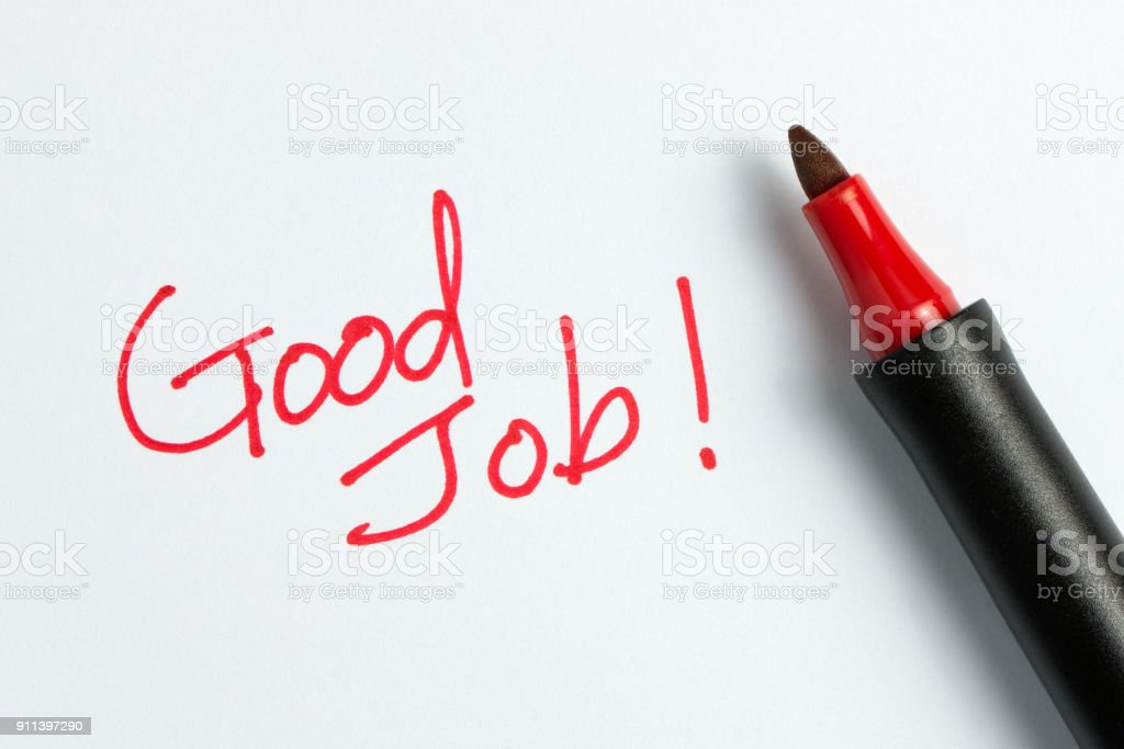 Good job text with red marker pen stock photo