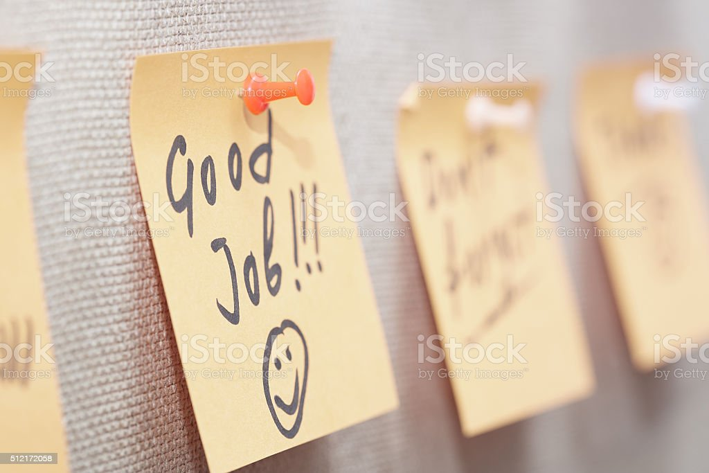 Good job written on a sticky note stock photo