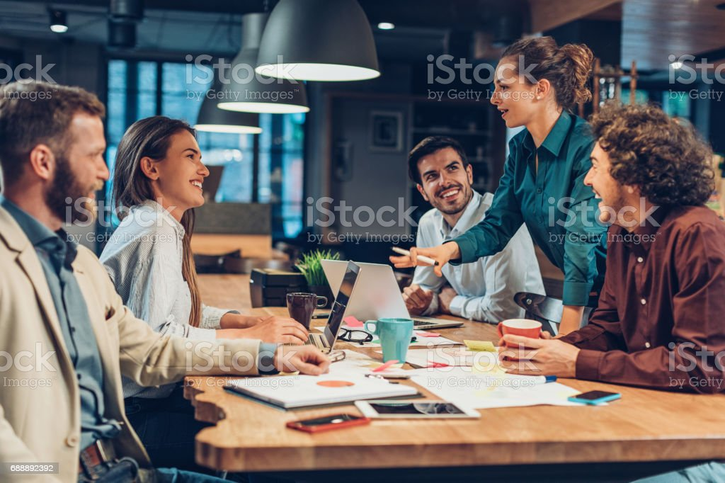 Good leadership and teamwork lead to success stock photo