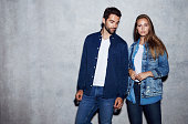 Good looking couple in denim, portrait