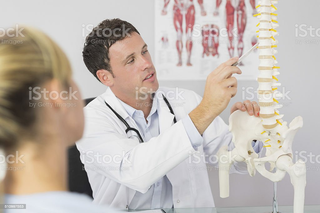 Good looking doctor showing a patient something on skeleton model stock photo