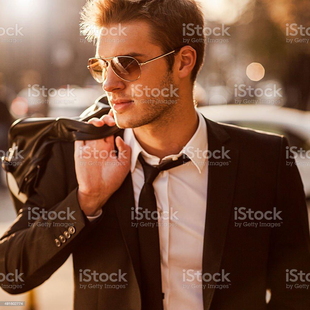 good looking elegant man stock photo