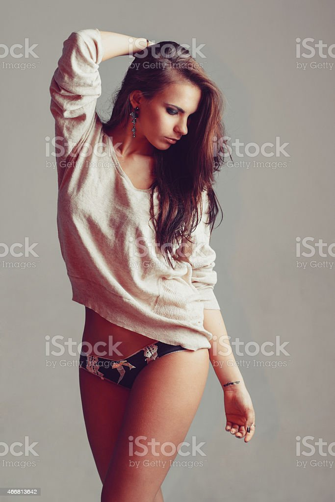 Good looking woman in her underwear stock photo
