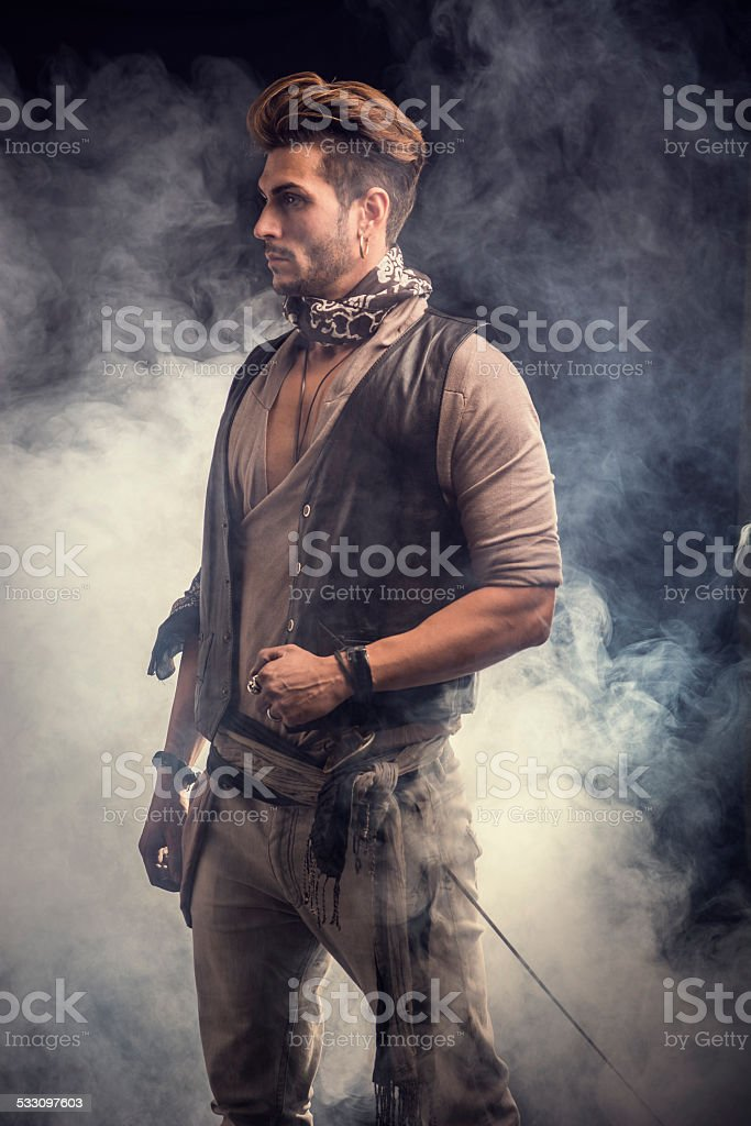 Good Looking Young Man in Pirate Fashion Outfit stock photo