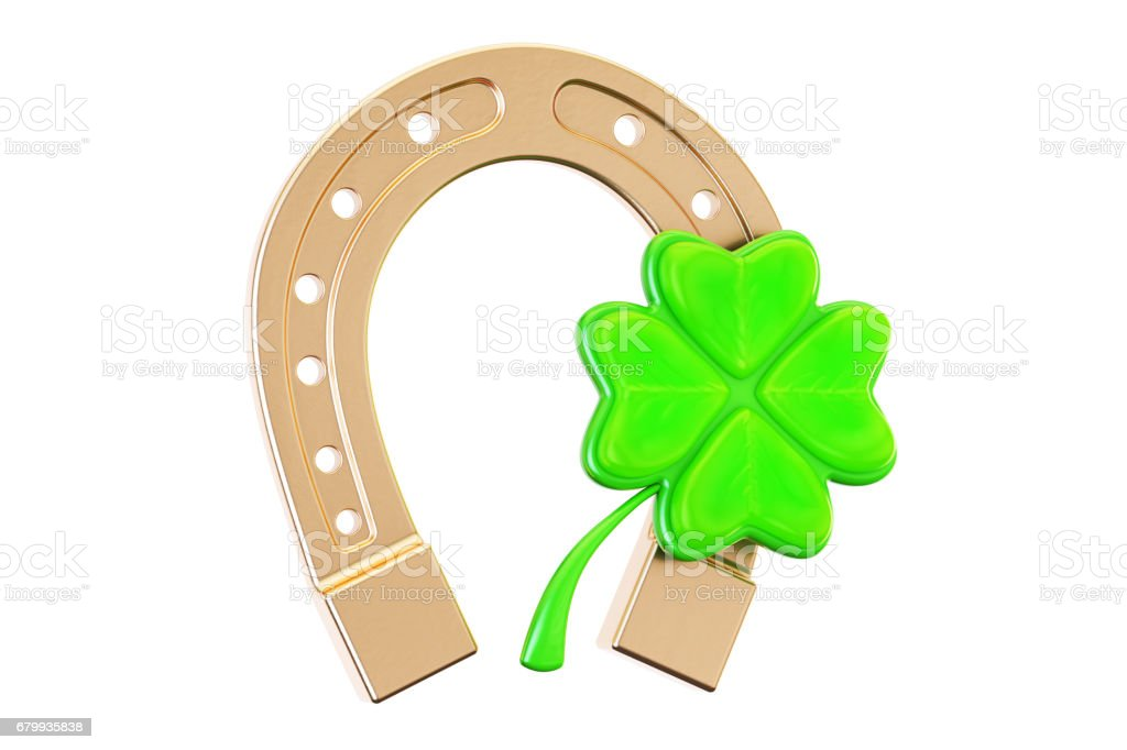 Good luck concept, horseshoe and four leaf clover. 3D rendering isolated on white background stock photo