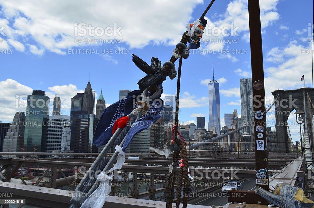 Good Luck: Omikuji at the Brooklin bridge, New York City stock photo