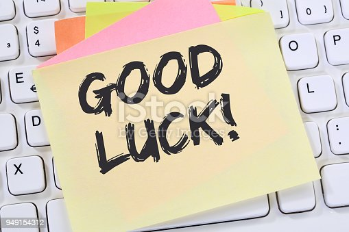 Good luck success successful test wish wishing business note paper computer keyboard