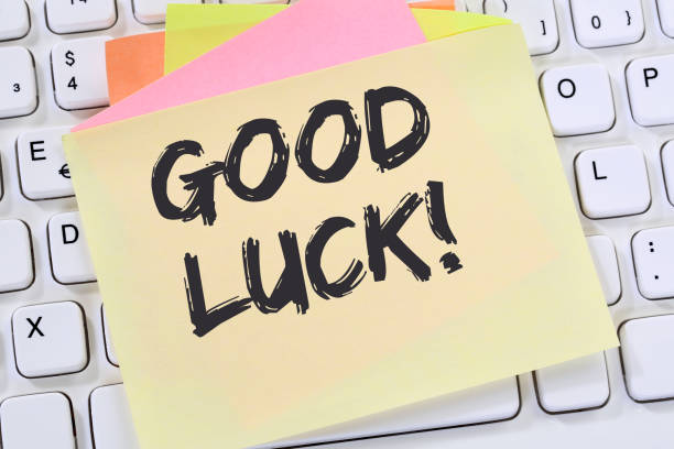 Good luck success successful test wish wishing business note paper stock photo