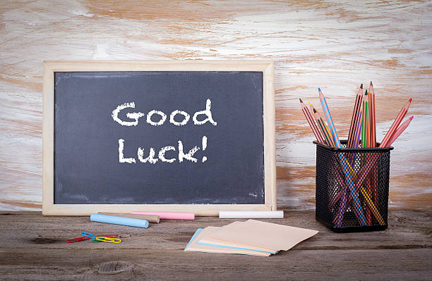 Good luck text on a blackboard stock photo