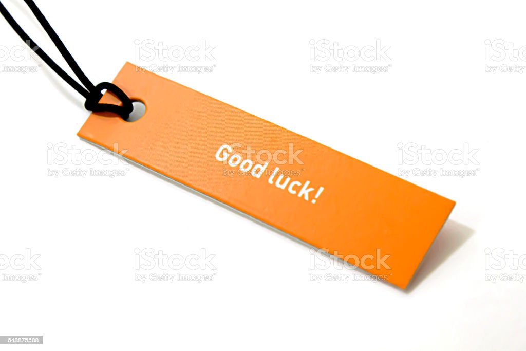 'good luck' text on label stock photo