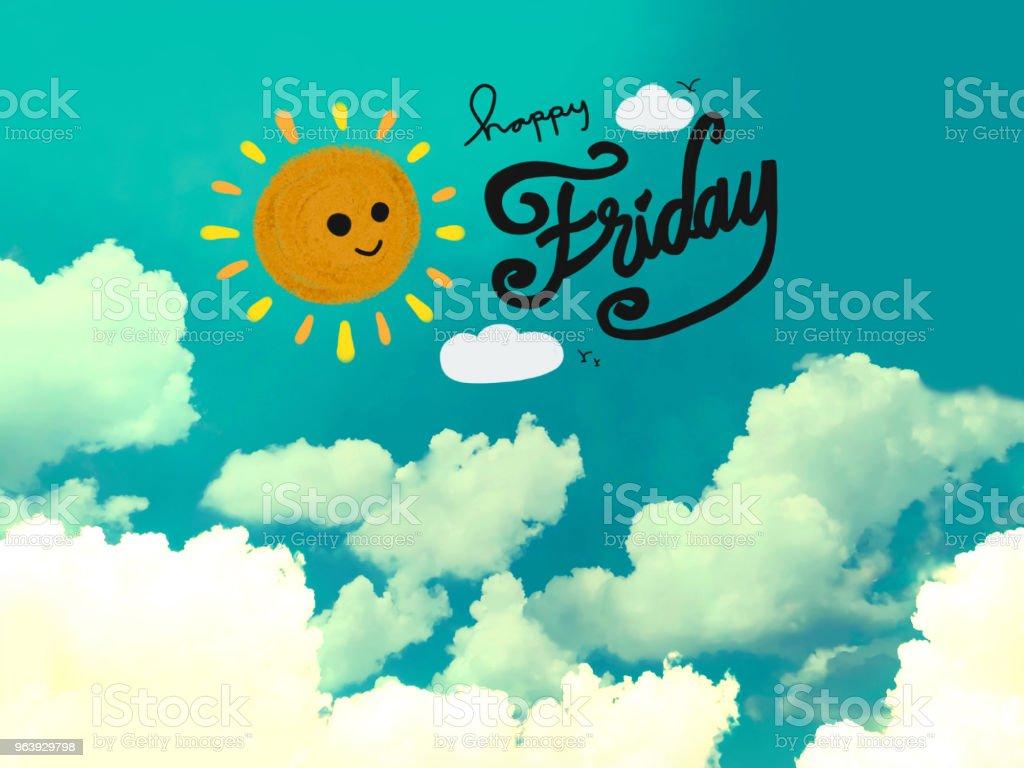 Guten Morgen Lächeln Süße Sonne Und Schönes Wochenende Wort