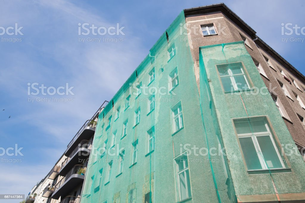Good morning Berlin, Apartment Houses in Berlin, Prenzlauer Berg stock photo