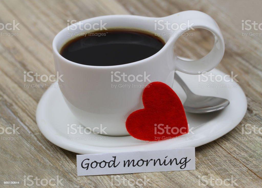 Guten Morgen Karte Mit Tasse Schwarzen Kaffee Und Roten Herzen Stockfoto Und Mehr Bilder Von Espresso
