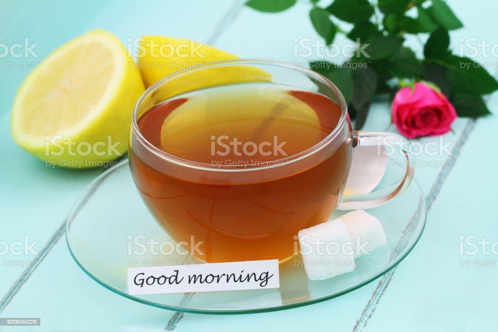 Guten Morgen Karte Mit Tasse Tee Mit Zitrone Und Rosa