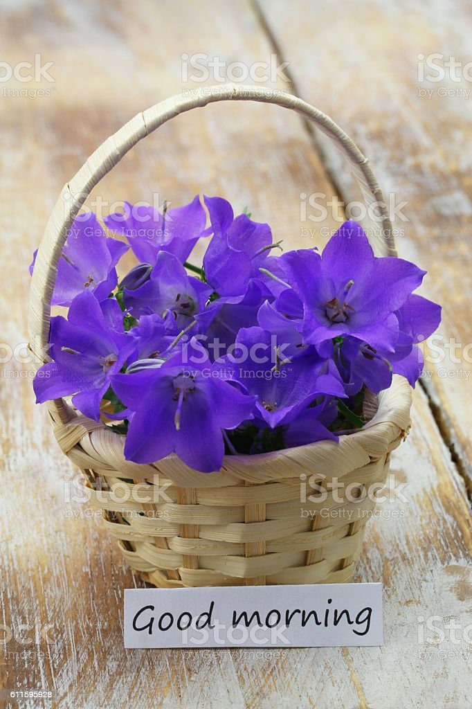 Good Morning Card With Mini Wicker Basket Filled With