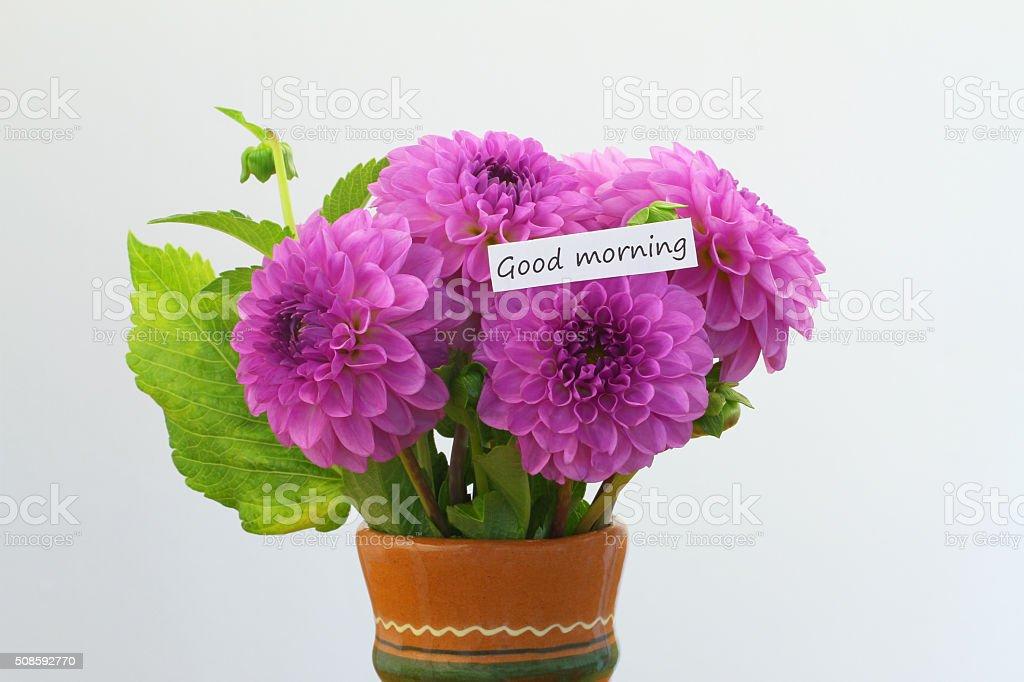 Guten Morgenkarte Mit Rosa Rosen Blumenstrauß In Blumenvase