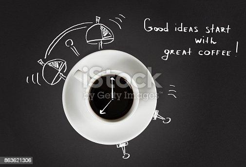 istock Good morning coffee and alarm clock concept 863621306