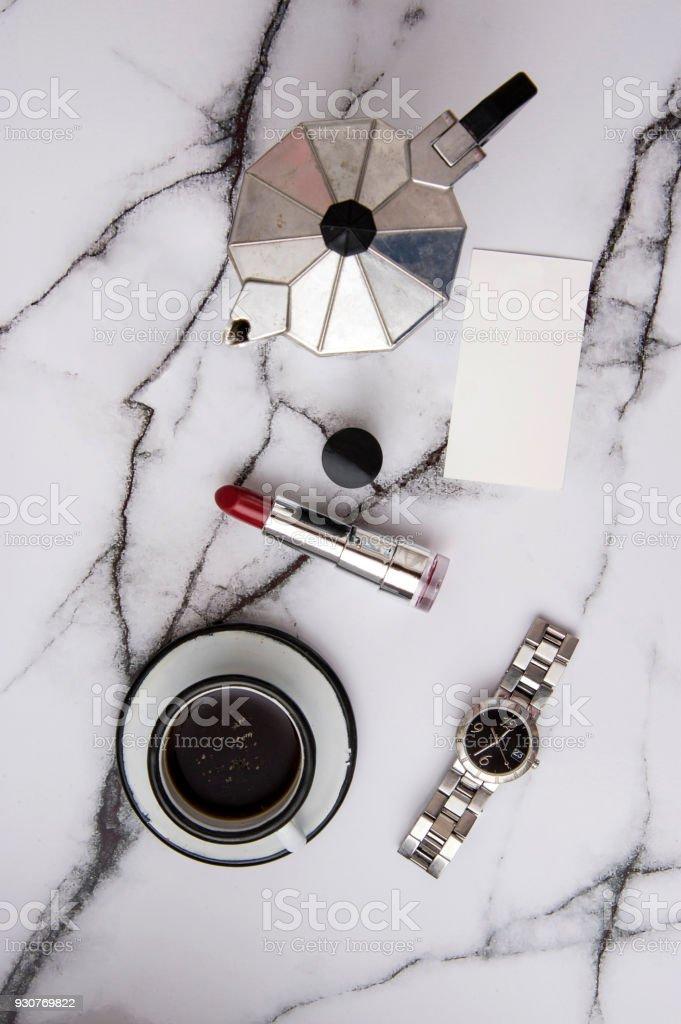 Guten Morgen Kaffee Mit Frau Zubehör Mit Marmor Tischplatte