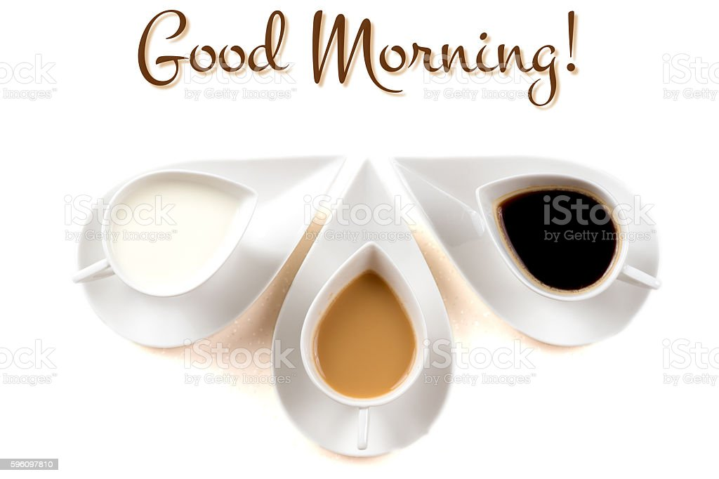 good morning concept with three coffee cups Lizenzfreies stock-foto