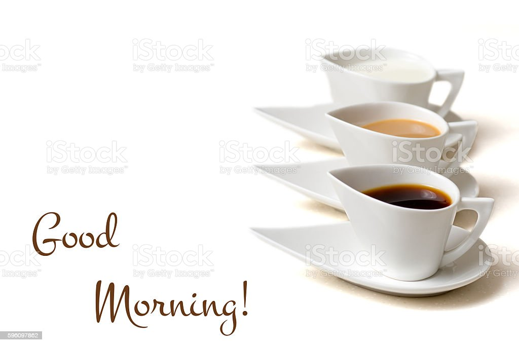 good morning concept with three coffee cups royalty-free stock photo