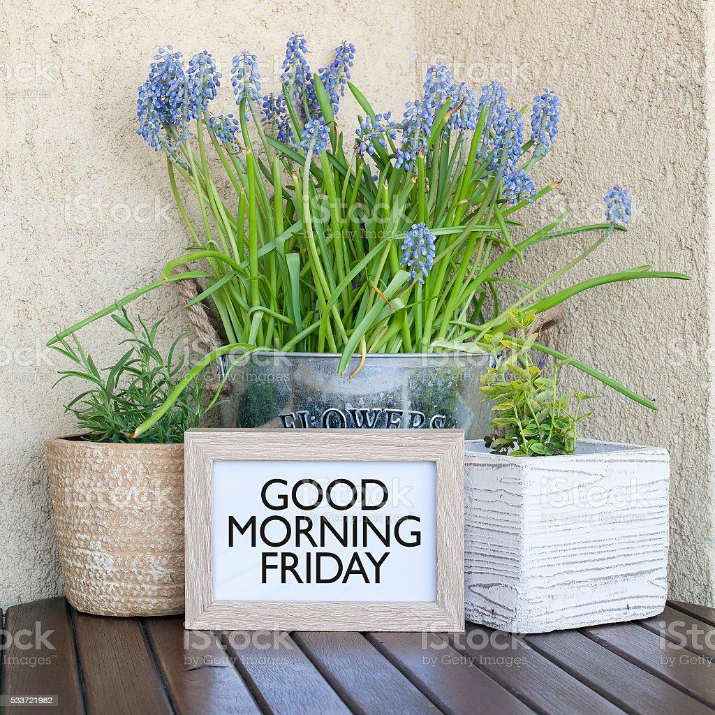 Good Morning Friday Note stock photo