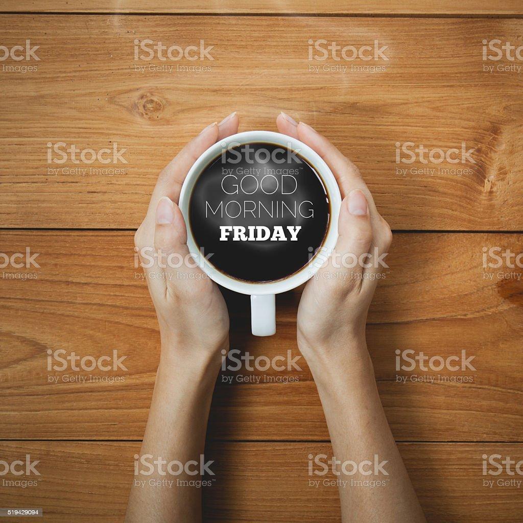 Guten Morgen Freitag Auf Kaffee Becher Konzept Stockfoto Und