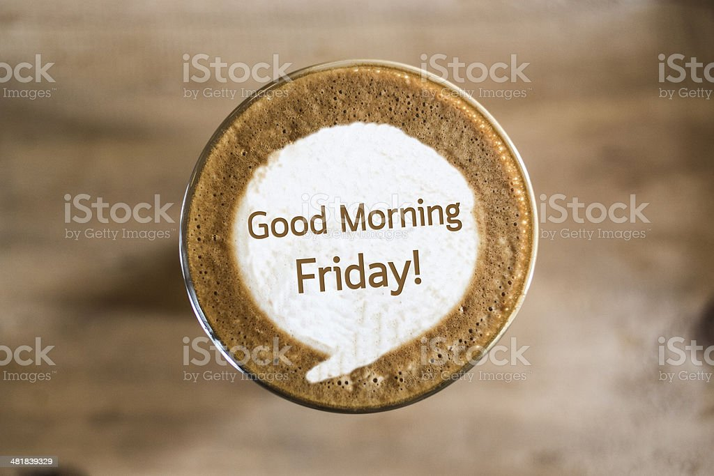 Good Morning Friday on Coffee latte art concept stock photo
