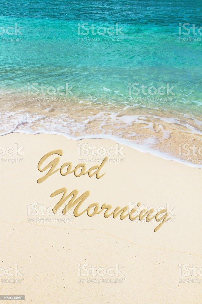 Guten Morgen Handgeschrieben Am Strand Stockfoto Und Mehr