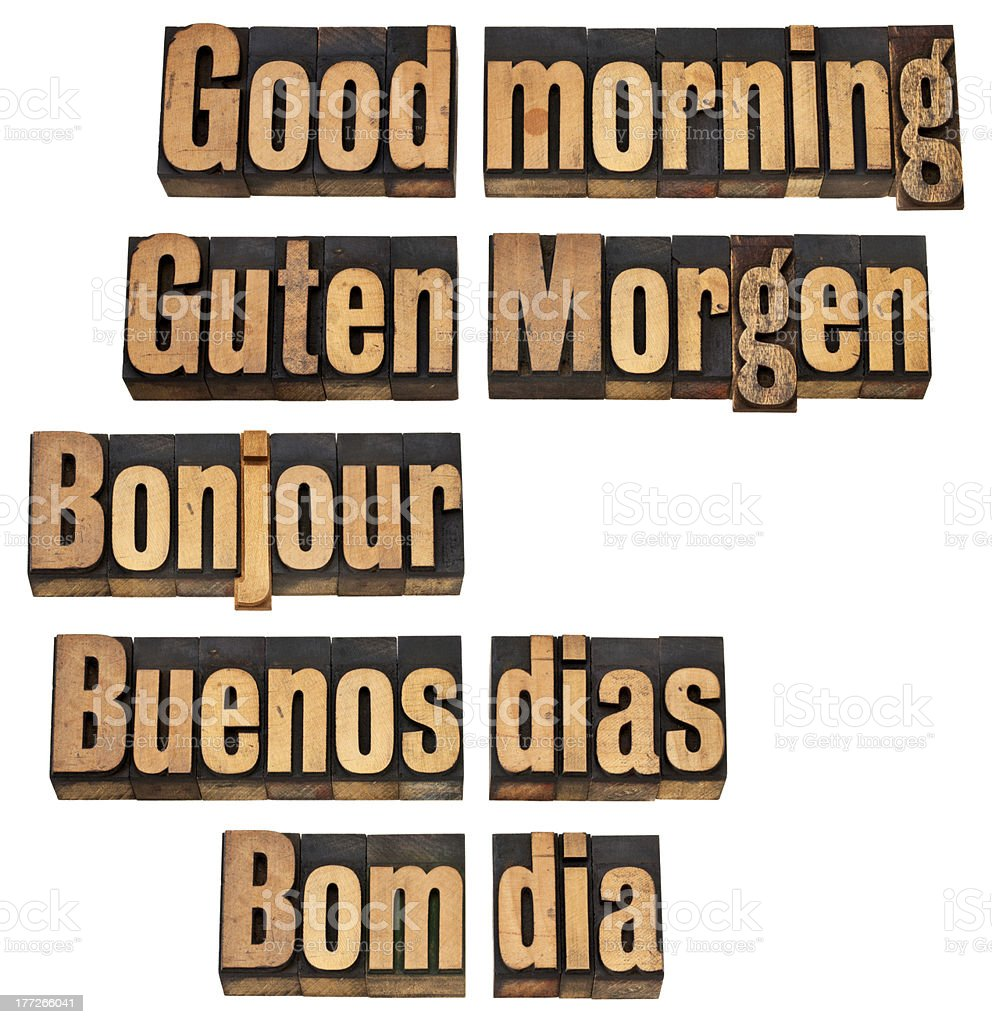 Good morning in 5 languages royalty-free stock photo