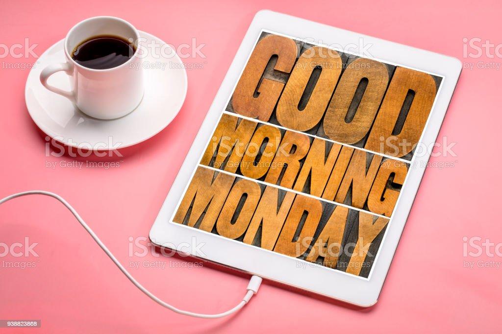 Guten Morgen Montag Auf Tablet Stockfoto Und Mehr Bilder Von