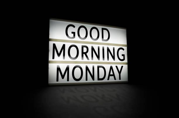 guten morgen montag - glückliche montagszitate stock-fotos und bilder