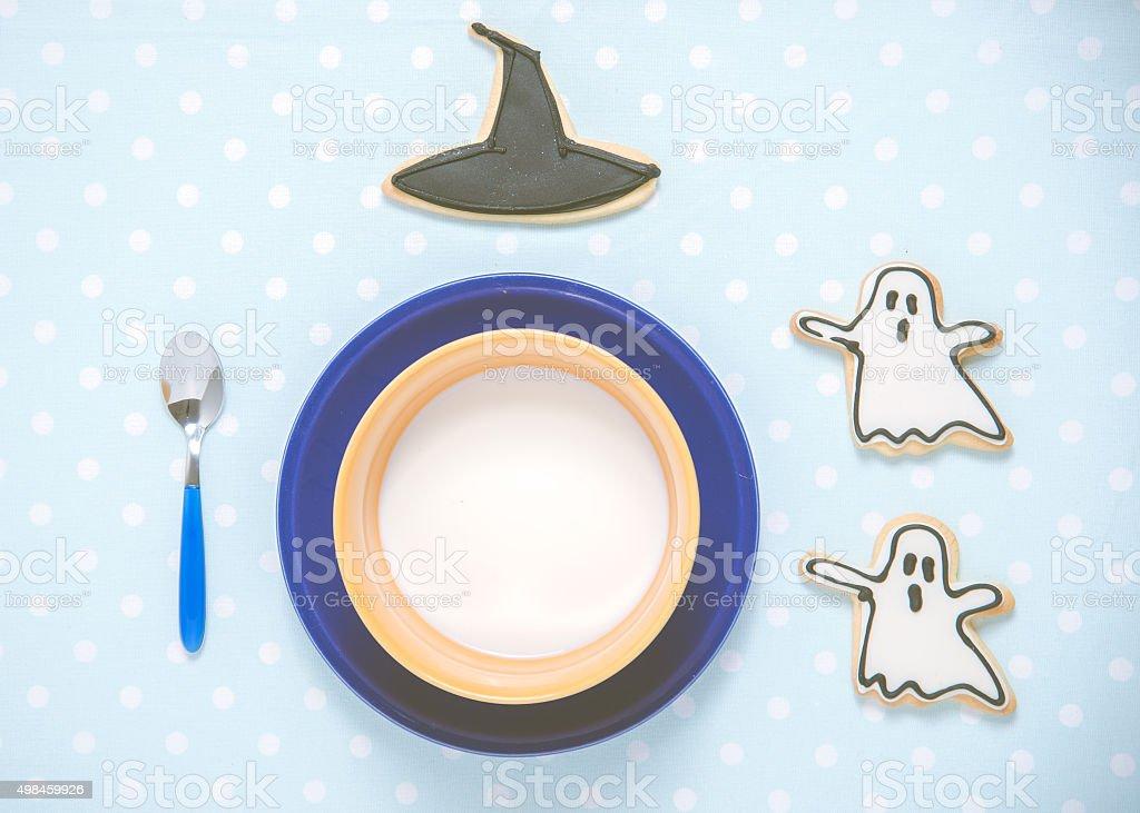 Guten Morgen Meine Kinder Ein Halloween Dekoriert Frühstück