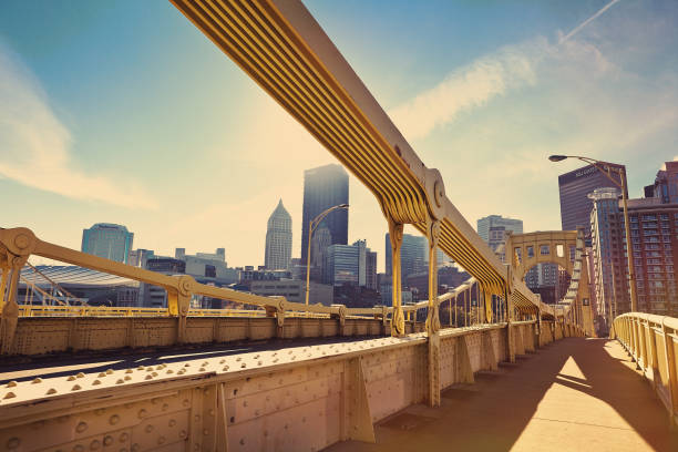 Good Morning Pittsburgh, PA A morning view of Pittsburgh, PA, USA from the Andy Warhol Bridge. pittsburgh stock pictures, royalty-free photos & images