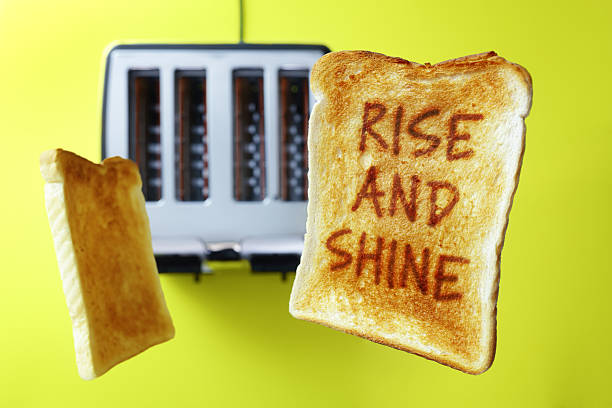 good morning rise and shine toasted bread - monday motivation stock photos and pictures